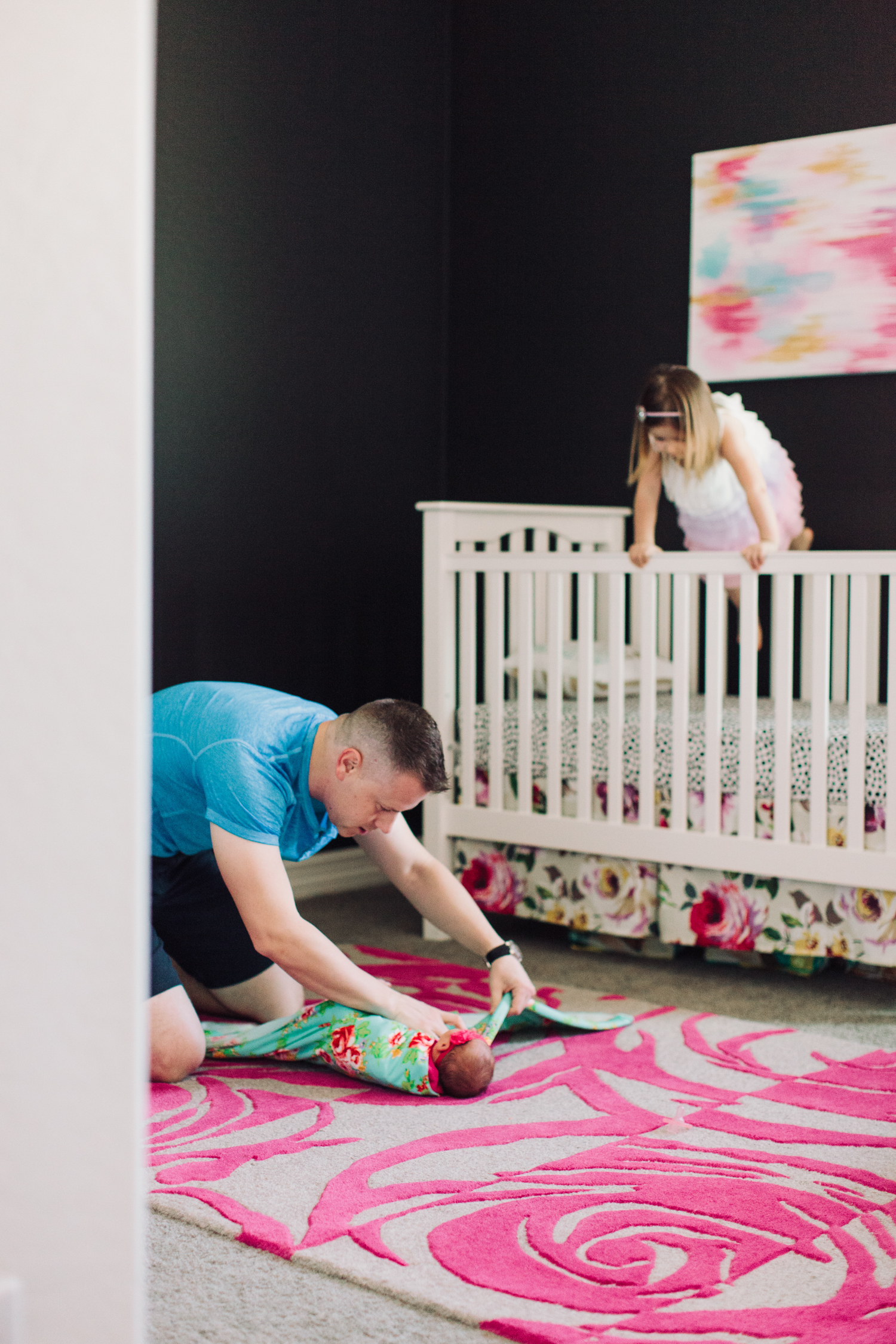 modern newborn girl nursery lifestyle arizona photography